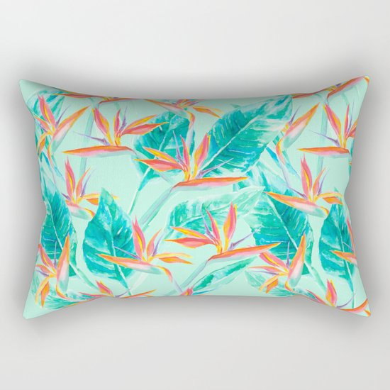 Birds Of Paradise Mint Rectangular Pillow