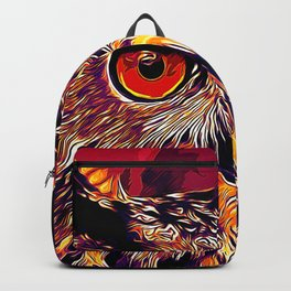 owl strix bird v2 vector art late sunset Backpack