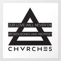 chvrches Art Prints featuring chvrches by marney cinclair