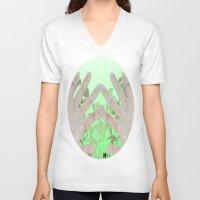 bag V-neck T-shirts featuring Bag by Art Barf