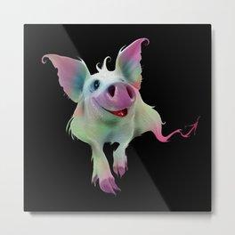 Psychedelic colorful Pig - Surreal -Fantasy-Animal love Metal Print