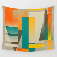 metropolis Wall Tapestries featuring METROPOLIS | orange by Cheryl Daniels