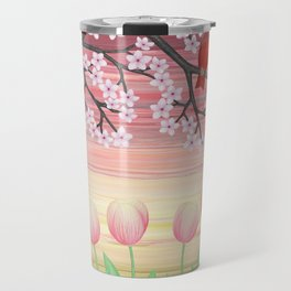 cardinals & tulips in spring Travel Mug