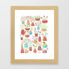 watercolor potted flowers and cacti Framed Art Print