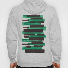 Deep Green Turquoise Primitive Stripes Mid Century Modern Minimalist Watercolor Gouache Painting Col Hoody