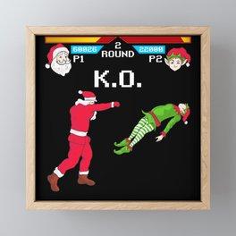 Santa vs Elf Framed Mini Art Print
