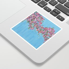 Cherry Blossoms, Pink Flower Wall Art Prints, Impressionism Sticker