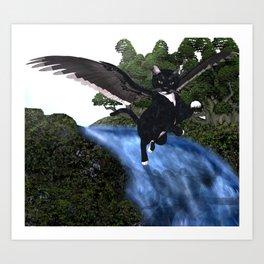 Black Fairy Cat Art Print