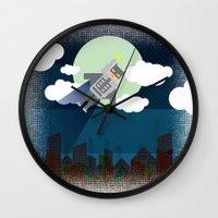 bat man Wall Clocks featuring Bat Man by voskovski