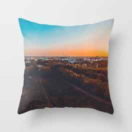 180 degree panorama of berlin taken by a drone in the afternoon Throw Pillow