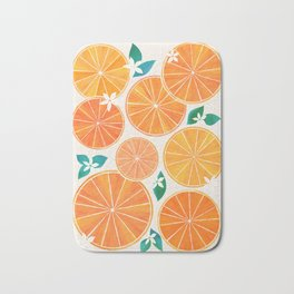 Orange Slices With Blossoms Bath Mat