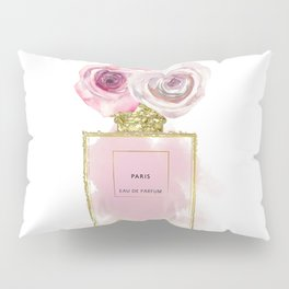 Pink & Gold Floral Fashion Perfume Bottle Pillow Sham