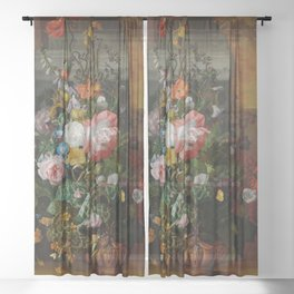 Rachel Ruysch Roses Convolvulus Poppies Other Flowers in Urn Sheer Curtain