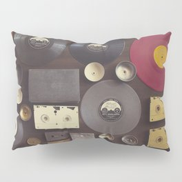 Music. Vintage wall with vinyl records and audio cassettes hung. Pillow Sham