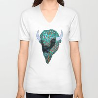 bison V-neck T-shirts featuring Bison by ejvozzola