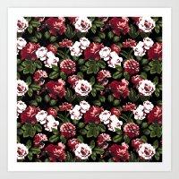 Honolulu Floral - Black Art Print