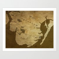 westeros Art Prints featuring Fantasy Map of Brooklyn: Brown Parchment by Midgard Maps