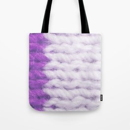 Violet White Wool Knitting Texture Tote Bag
