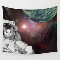 space cat Wall Tapestries featuring Space Cat by The Cat Mafia Design Syndicate