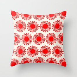 vintage flowers red Throw Pillow