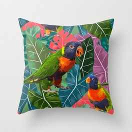 Parrots and Tropical Leaves Throw Pillow