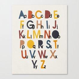 Alphabet, Mid century modern kids wall art, Nursery room Canvas Print