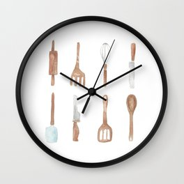 Wooden Cooking Set Wall Clock