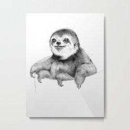 Teacup Baby Sloth Metal Print