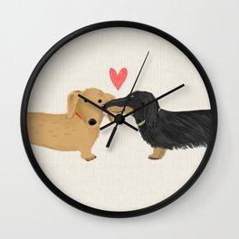 Cute Wiener Dogs with Heart | Dachshunds Love Wall Clock