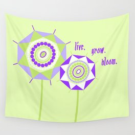 Lavender Mint Abstract Geometric Floral Flowers Illustration Wall Tapestry