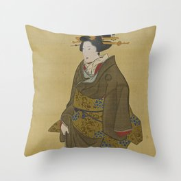 Japanese Geisha from Edo (Tokyo) Throw Pillow