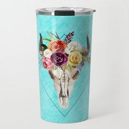 Geometric Boho Floral Skull Travel Mug