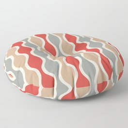 Ogee Pattern 743 Gray Beige and Red Floor Pillow
