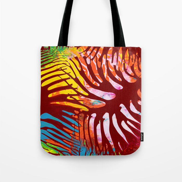 Tropic leaves on sunset Tote Bag