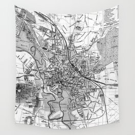 Vintage Map of Hanover Germany (1895) BW Wall Tapestry
