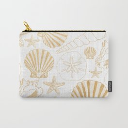 Gold Sea Shells on white Carry-All Pouch