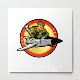 fighter plane pilot man.hockey player Metal Print