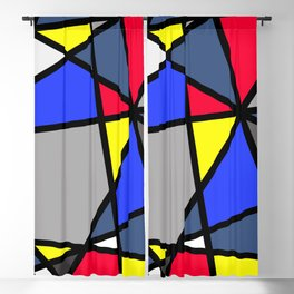 Triangels Geometric Lines blue - red - yellow - grey Blackout Curtain