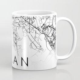 Milan City Map Italy White and Black Coffee Mug