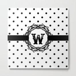 Black Monogram: Letter W Metal Print