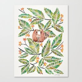 Happy Sloth – Tropical Green Rainforest Canvas Print