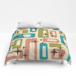 Retro Mid Century Modern Abstract Pattern 623 Olive Blue and Dusty Rose Comforters