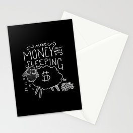 Make money while sleeping - black  Stationery Cards
