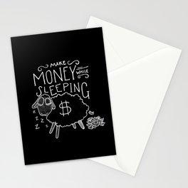 Make money while sleeping - black  Stationery Cards