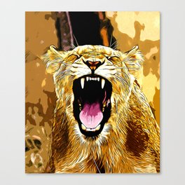 african lioness safari cat v2 vector art Canvas Print
