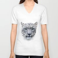 snow leopard V-neck T-shirts featuring snow leopard by ulas okuyucu