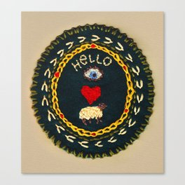 Hello eye heart ewe Canvas Print