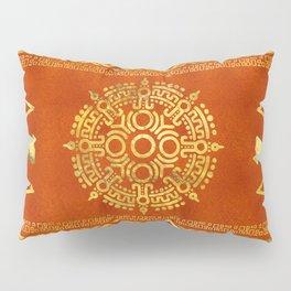 Gold Aztec Calendar Sun symbol Pillow Sham