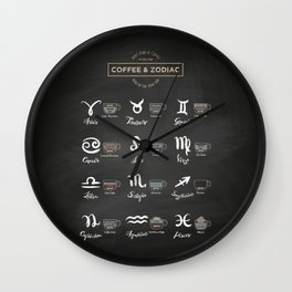 Coffee types and Zodiac sign #1 Wall Clock