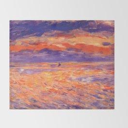 "Auguste Renoir ""Sunset at sea"" Throw Blanket"